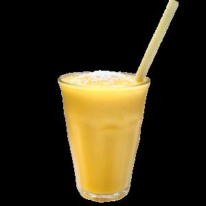 Een ijskoud vers mangosapje met kokosmelk