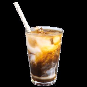 Bestel een ijskoffie met kokosmelk en ijsblokjes