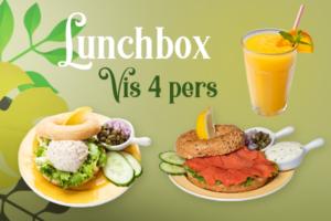 Een lunchbox met vis voor 4 personen bestellen voor thuis, onderweg of op kantoor