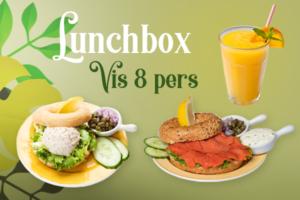 Een lunchbox met vis voor 8 personen bestellen voor thuis, onderweg of op kantoor