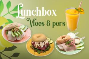 Een lunchbox met vlees voor 8 personen bestellen voor thuis, onderweg of op kantoor