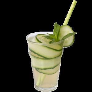 Bestel een heerlijk verfrissend komkommerdrankje met munt
